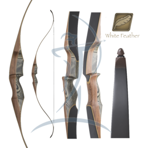White Feather Lapwing Black One Piece Hunting Recurve 60""